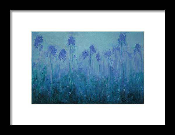 Blue Iris Framed Print featuring the painting Blue Iris by Sheryl Sutherland