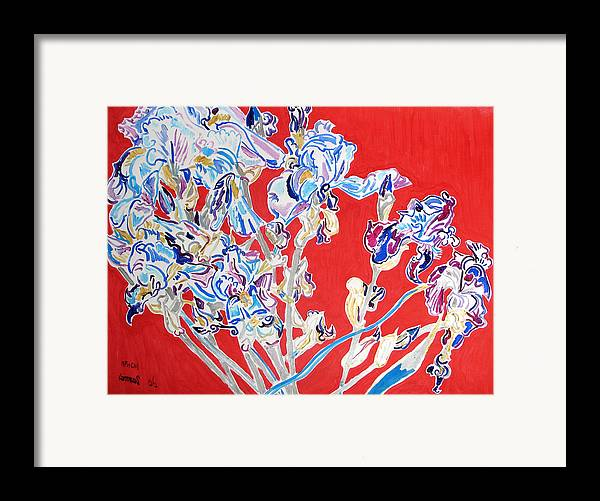 Irises Framed Print featuring the painting Blue Irises In The Pink Background by Vitali Komarov