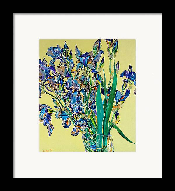 Irises Framed Print featuring the painting Blue Irises by Vitali Komarov
