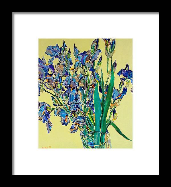 Irises Framed Print featuring the painting Blue Irises by Vitali Komarov