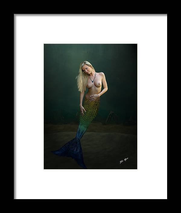 Mermaid Framed Print featuring the painting Blue Jade Knecklace by Tray Mead