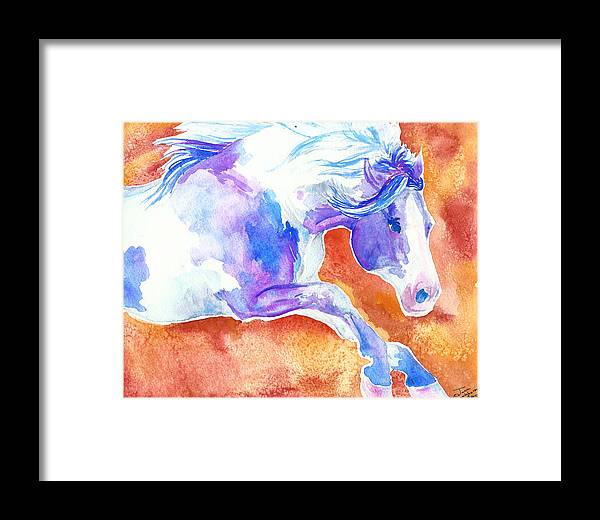 Horse Framed Print featuring the painting Blue Jumping Paint by Jenn Cunningham