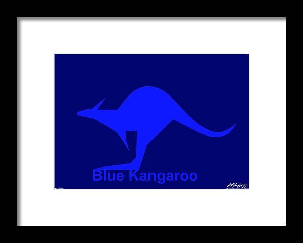 Framed Print featuring the digital art Blue Kangaroo by Asbjorn Lonvig