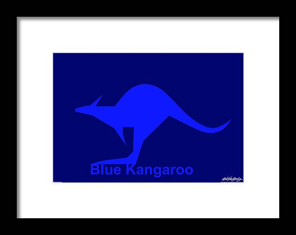Framed Print featuring the digital art Blue Kangaroo by Asbjorn Lonvig