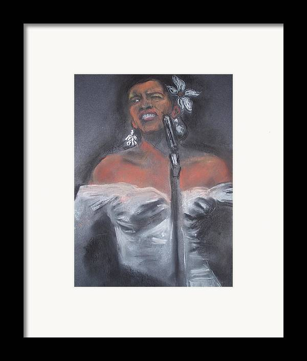 Billie Holliday Framed Print featuring the drawing Blue Lady by Darryl Hines