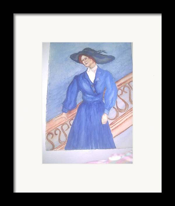 Image Caught My Imagination Framed Print featuring the painting Blue Lady by Nancy Caccioppo