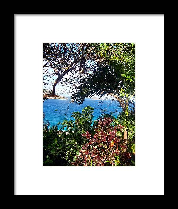 Water Framed Print featuring the photograph Blue Lagoon Overlook by Caroline Urbania Naeem