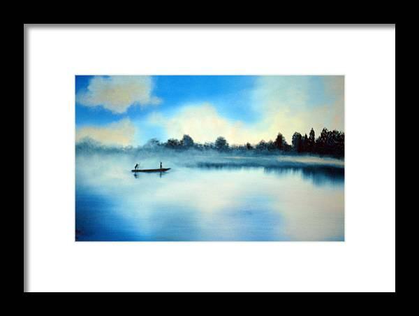 Blue Framed Print featuring the painting Blue Lagoon by SueEllen Cowan