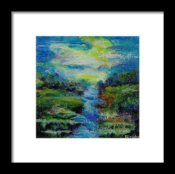 Water Framed Print featuring the painting Blue Landscape. by Evgenia Davidov