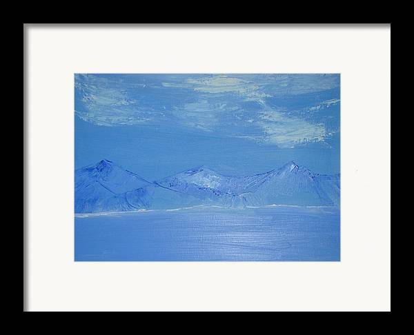 Mountains Framed Print featuring the painting Blue Landscape by Liz Vernand