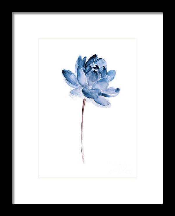 Lotos Framed Print featuring the painting Blue Lotos Flower Girls Room Decor by Joanna Szmerdt