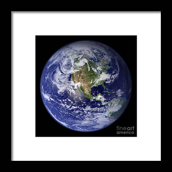 Earth Framed Print featuring the photograph Blue Marble Earth, North America by Science Source