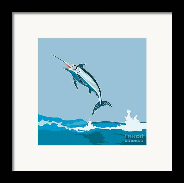 Fish Framed Print featuring the digital art Blue Marlin by Aloysius Patrimonio