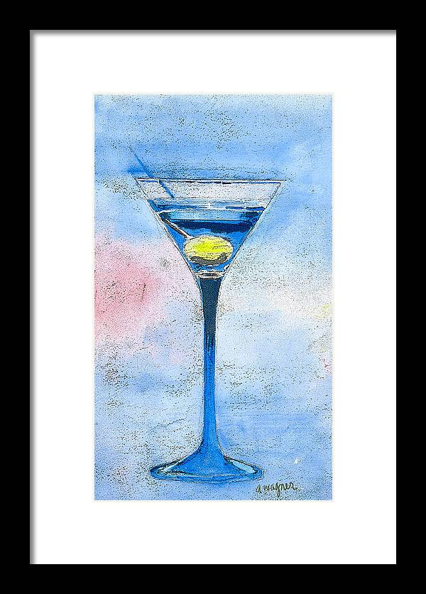 Martini Framed Print featuring the painting Blue Martini by Arline Wagner