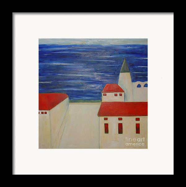 City Mediterrenean Abstract Naive Leilaatkinson Original Paintings Framed Print featuring the painting Blue Med by Leila Atkinson