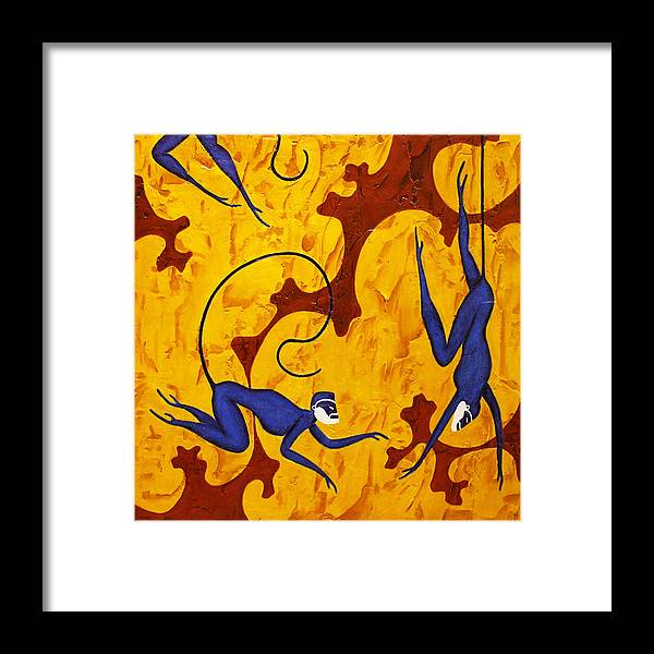 Monkeys Framed Print featuring the painting Blue Monkeys No. 45 by Steve Bogdanoff