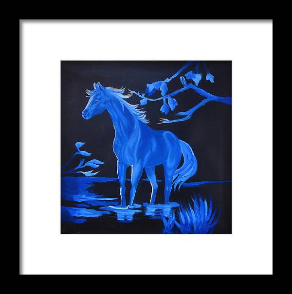 Blue Framed Print featuring the painting Blue Moon by Darlene Green