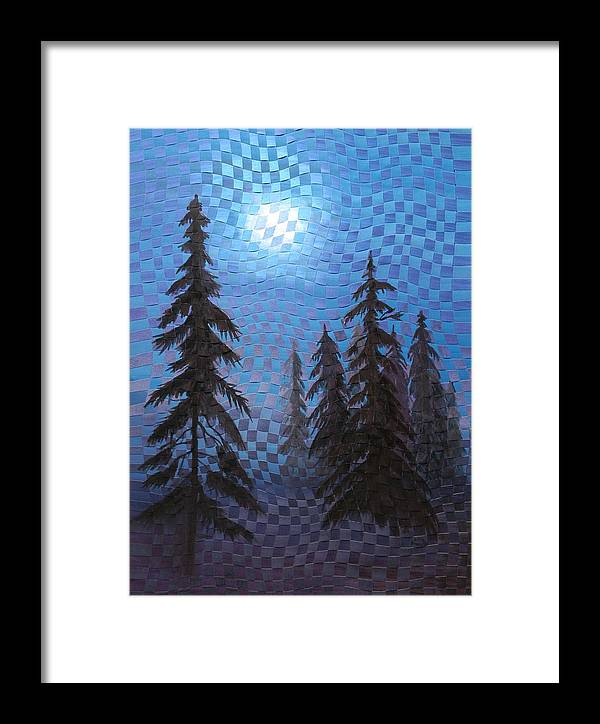 Landscape Framed Print featuring the painting Blue Moon by Linda L Doucette