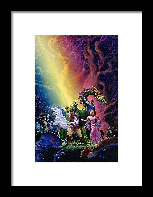 Fantasy Framed Print featuring the painting Blue Moon Rising by Richard Hescox