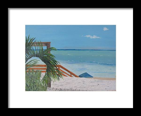 Seascape Framed Print featuring the painting Blue Mountain Beach Dune by John Terry