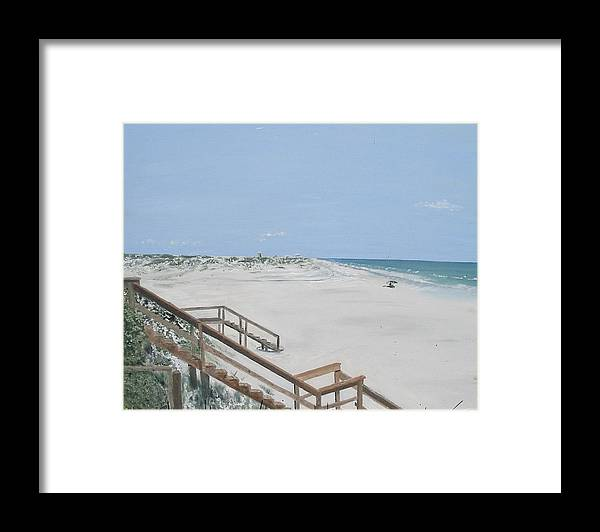 Seascape Framed Print featuring the painting Blue Mountain Beach II by John Terry