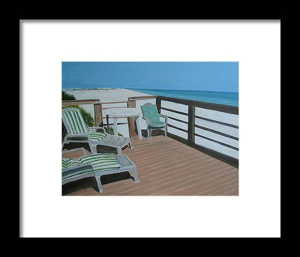 Seascape Framed Print featuring the painting Blue Mountain Beach by John Terry