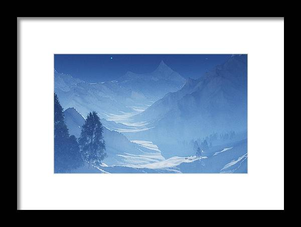 Mountain Framed Print featuring the digital art Blue Mountain Path by Margaret Wingstedt