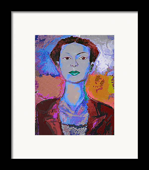 Portrait Framed Print featuring the mixed media Blue Nev by Noredin Morgan