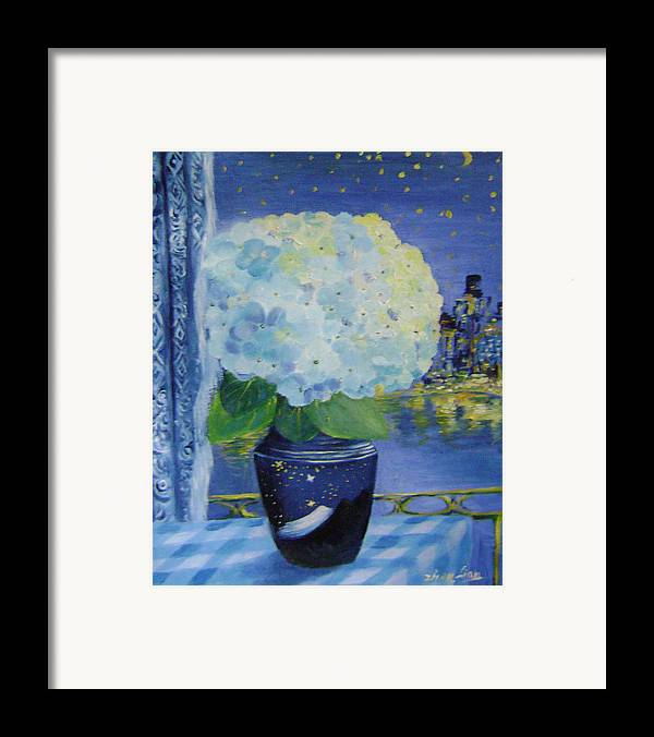 Flroal Framed Print featuring the painting Blue Night by Lian Zhen