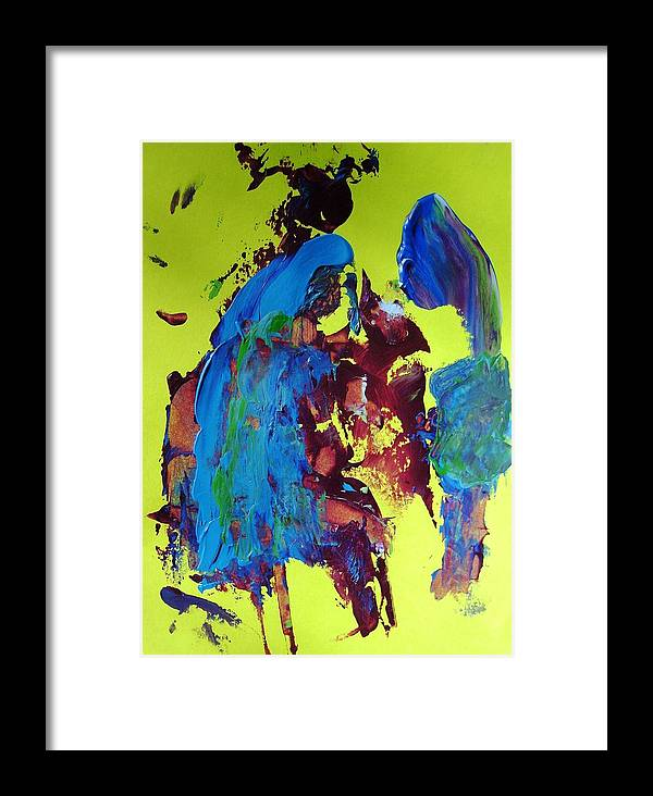 Abstract Framed Print featuring the painting Blue Note by Bruce Combs - REACH BEYOND