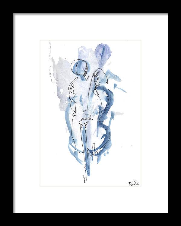 Music Framed Print featuring the painting Blue Note by Tali Farchi