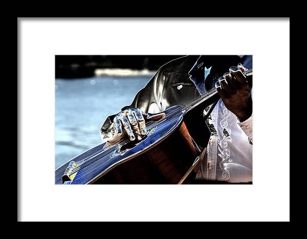 Guitar Framed Print featuring the digital art Blue Notes by Lyle Huisken