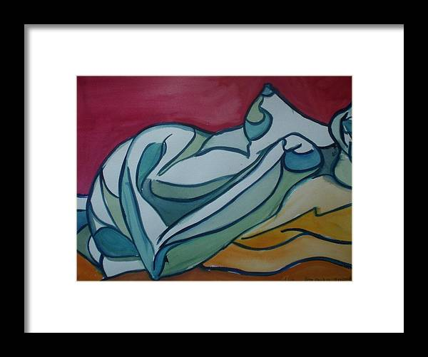 Nude Framed Print featuring the painting Blue Nude by Aleksandra Buha