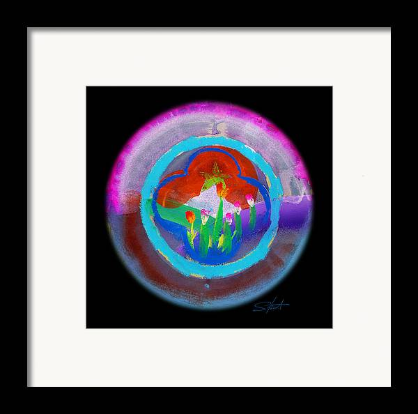Blue Framed Print featuring the painting Blue On Blue On Violet by Charles Stuart
