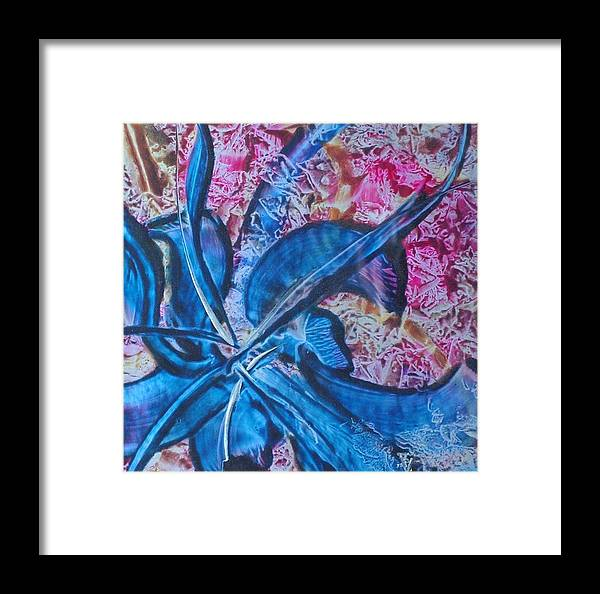 Abstract Framed Print featuring the painting Blue Orchid by John Vandebrooke