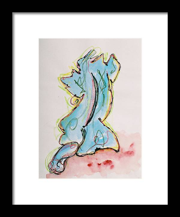Drawing Framed Print featuring the drawing Blue by Oudi Arroni