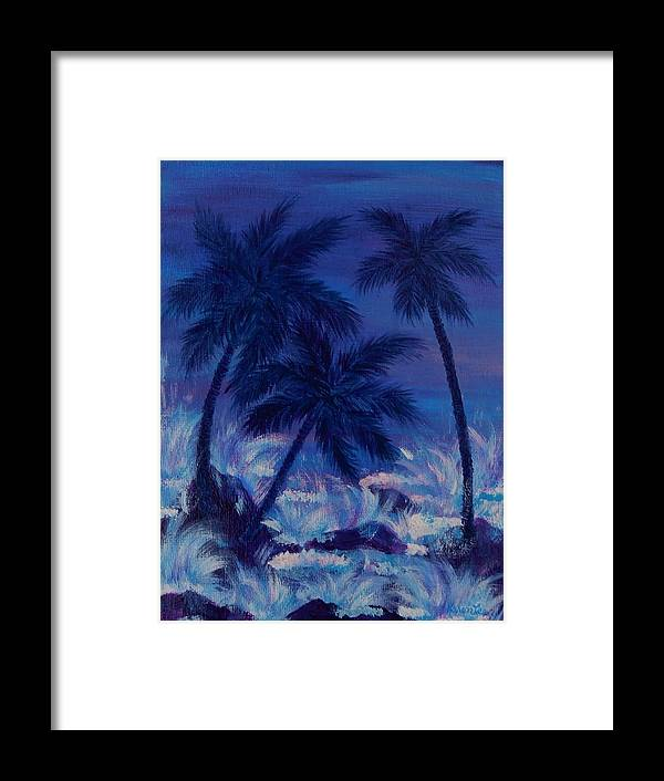 Palm Trees Framed Print featuring the painting Blue Palm by Karen Lee