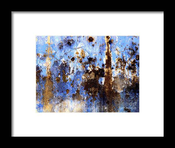 Olden Mexico Framed Print featuring the photograph Blue Plaster 2 By Darian Day by Mexicolors Art Photography