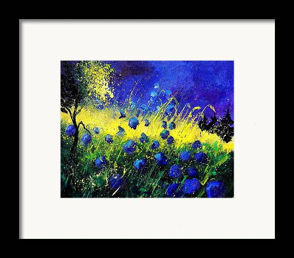 Flowers Framed Print featuring the painting Blue Poppies by Pol Ledent