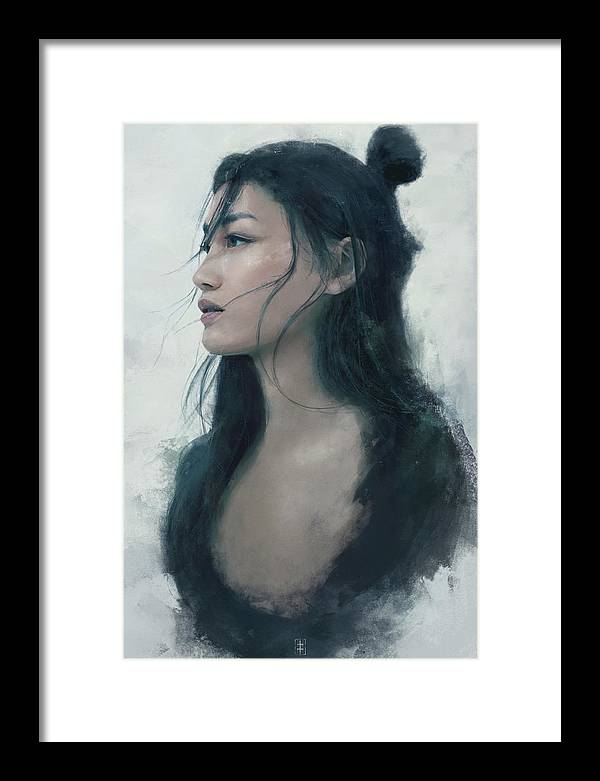 Warrioress Framed Print featuring the painting Blue Portrait by Eve Ventrue
