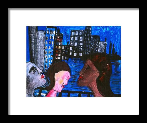 People Wander Along A City Promenade At Night Framed Print featuring the drawing Blue Promenade by Nina Talbot