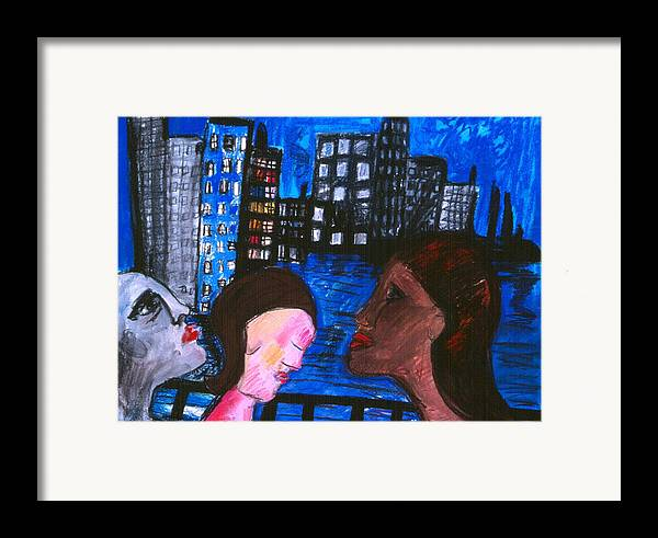 People Wander Along A City Promenade At Night Framed Print featuring the drawing Blue Promenade by Nina Talbot