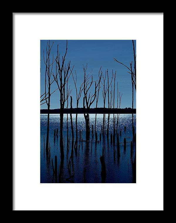 Nature Landscapes Framed Print featuring the photograph Blue Reservoir - Manasquan Reservoir by Angie Tirado