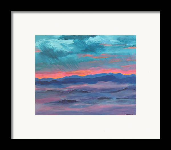 Mountain Range Framed Print featuring the painting Blue Ridge I by Sheryl Sutherland