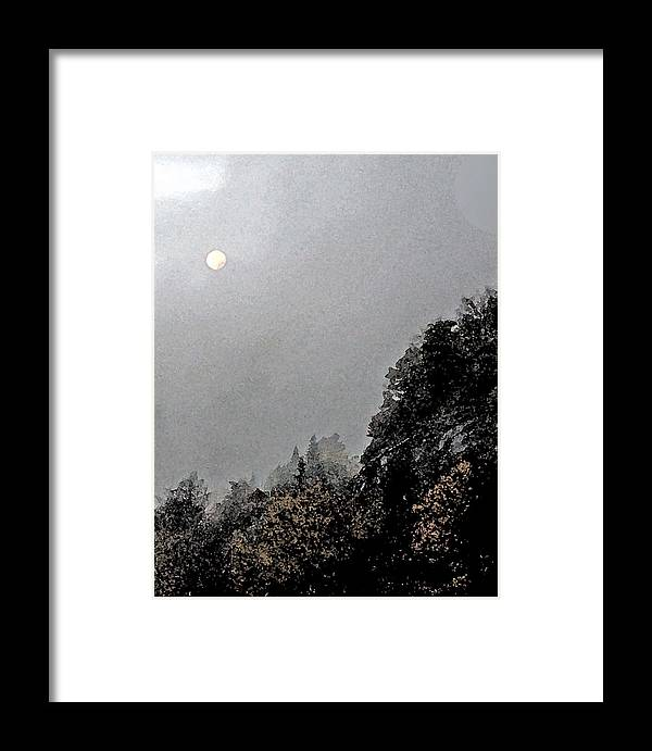 Blueridge Framed Print featuring the digital art Blue Ridge Moon by Debra Wilkinson