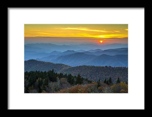 Blue Ridge Parkway Framed Print featuring the photograph Blue Ridge Parkway Sunset - For The Love Of Autumn by Dave Allen