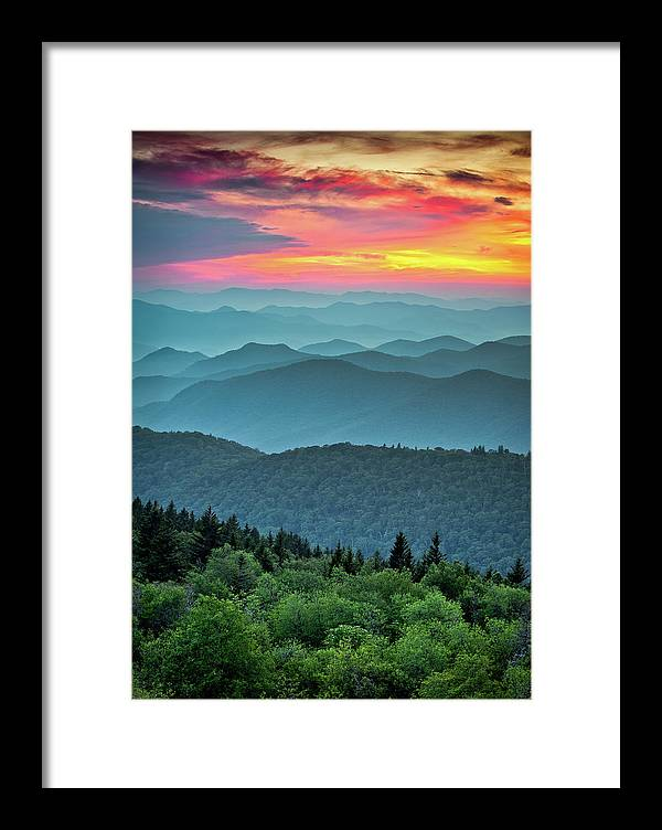 Blue Ridge Parkway Framed Print featuring the photograph Blue Ridge Parkway Sunset - The Great Blue Yonder by Dave Allen