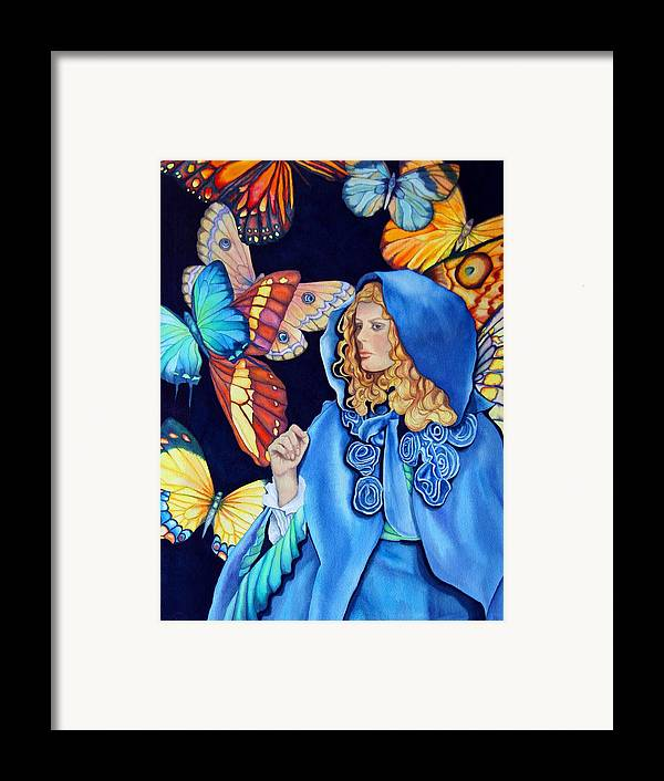 Woman/butterflies/fantasy Framed Print featuring the painting Blue Riding Hood by Gail Zavala