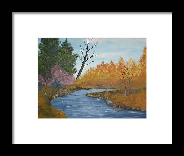 Autum Landscape Framed Print featuring the painting Blue River by Terri Warner