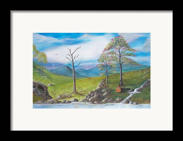 Landscape Framed Print featuring the painting Blue River by Tony Rodriguez